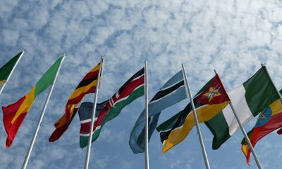 Africa flags are blown in the wind