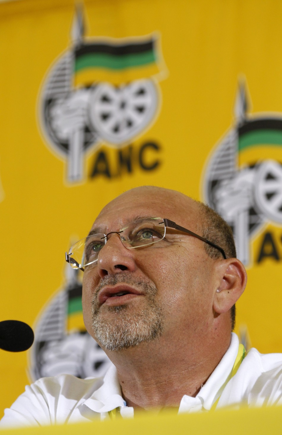 South African Planning Minister Trevor Manuel speaks at a media briefing during the National General Council of the ruling African National Congress