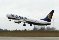File photograph shows a passenger jet belonging to Irish airline Ryanair taking off from Charleroi airport in southern Belgium