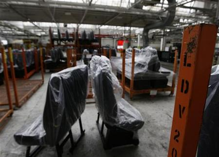 Van seats rest on the LDV production line at their plant in Birmingham
