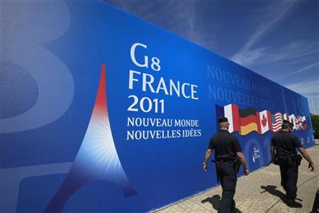French gendarmes patrol during security measures ahead of the G8 summit in Deauville