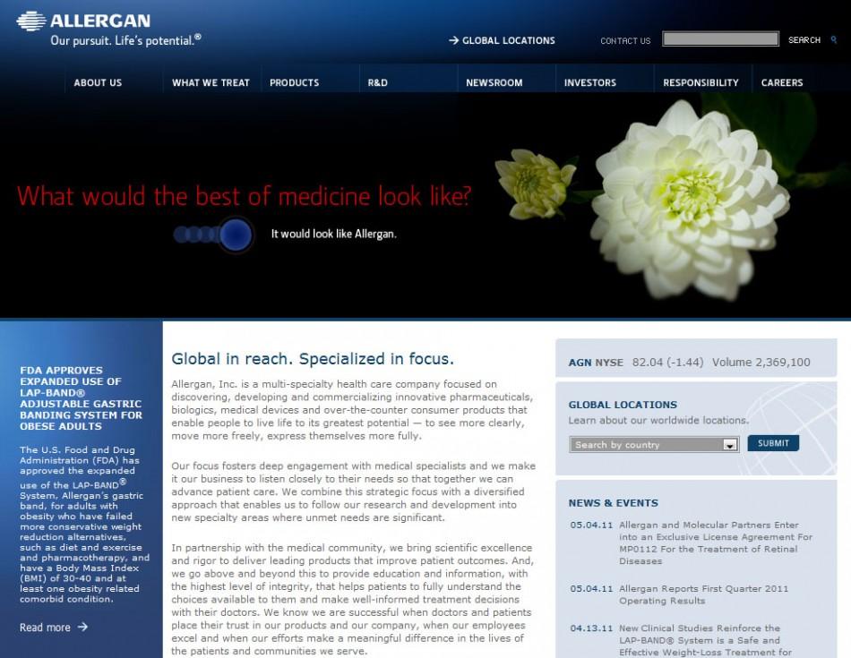 Homepage of Allergan