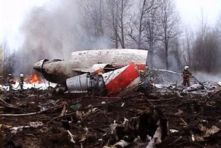 Polish government Tupolev Tu-154 aircraft after it crashed near Smolensk