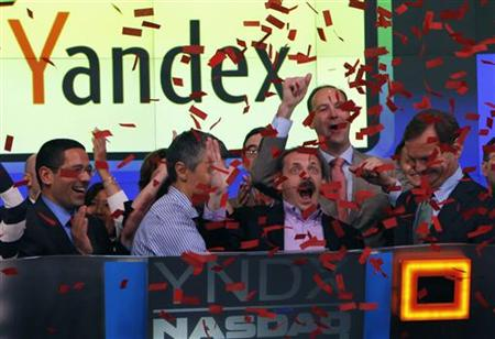 Yandex founder and CEO Arkady Volozh celebrates Yandex listing on the Nasdaq exhange in New York