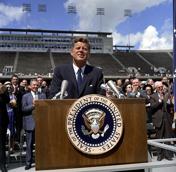JFK delivering his famous moon speech.