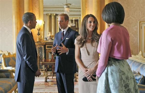 US President Obama, first lady Michelle and Queen Elizabeth, Prince William, and Kate Middleton [PHOTOS]