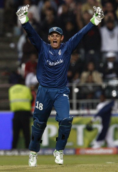 Chargers captain Gilchrist celebrates victory over the Royal Challengers in their IPL T20 final cricket match in Johannesburg