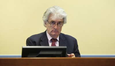 Former Bosnian Serb leader Karadzic appears in the courtroom of the ICTY War Crimes tribunal in The Hague