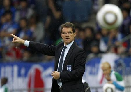 England's coach Capello instructs his team