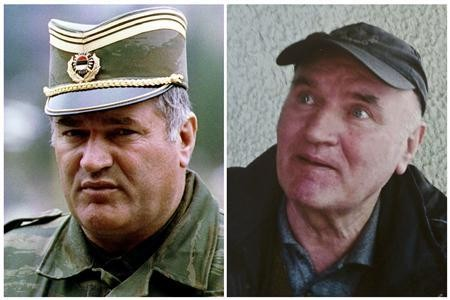 Combination photo shows Bosnian Serb army commander General Radko Mladic