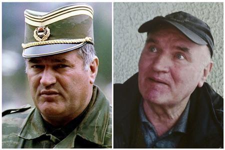 Combination photo shows Bosnian Serb army commander General Radko Mladic