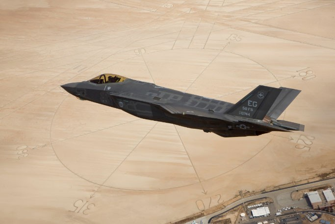 US Air Force handout photo of a F-35A fighter jet over Edwards Air Force Base