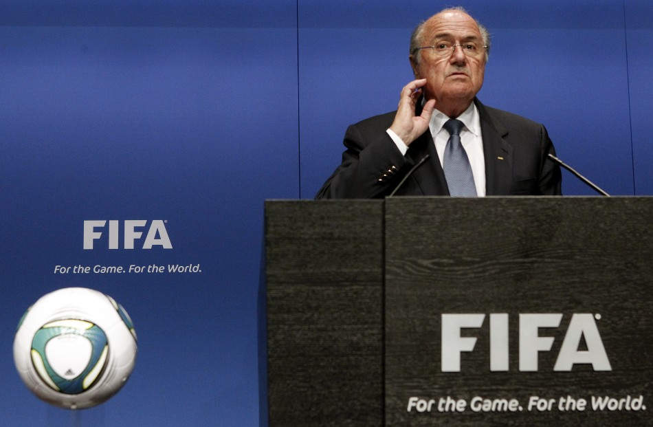 FIFA President Blatter gestures as he addresses a news conference at the FIFA headquarters in Zurich