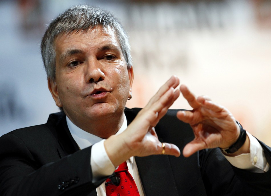Nichi Vendola, leader of SEL party and governor of the southern Italian region of Puglia, gestures during a political meeting in downtown Milan