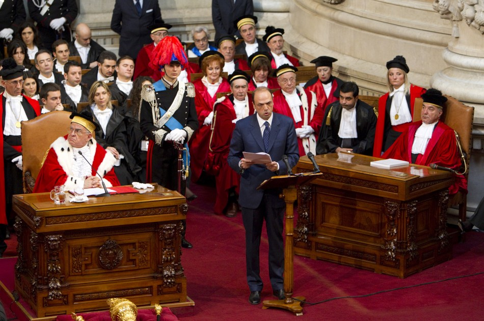 Italian Justice Minister Alfano speaks during the inauguration of the judiciary year in Rome