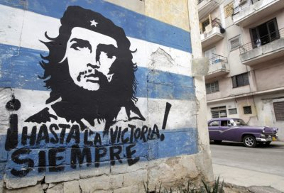 A mural of rebel hero Ernesto Che Guevara