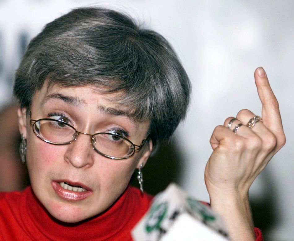 RUSSIAN CORRESPONDENT POLITKOVSKAYA SPEAKS AT A NEWS CONFERENCE IN MOSCOW.