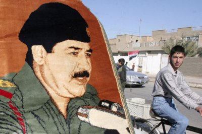 A poster of Saddam Hussein