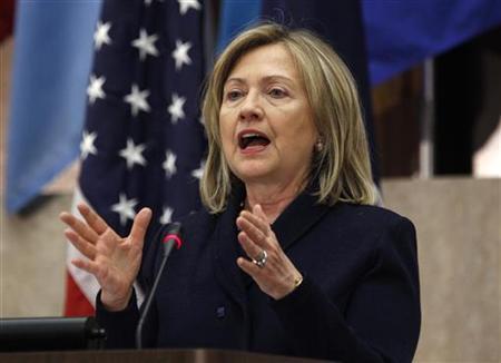 U.S. Secretary of State Hillary Clinton addresses the Washington Conference on the Americas in Washington