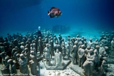 Underwater human reef saves natural reef