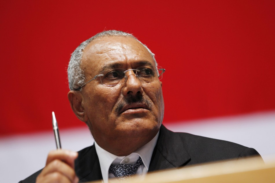 Yemen's President Ali Abdullah Saleh looks on as he attends a gathering of supporters in Sanaa