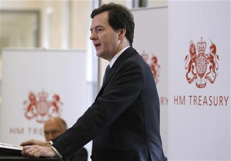 Chancellor Osborne speaks during a press conference at the Treasury, in central London