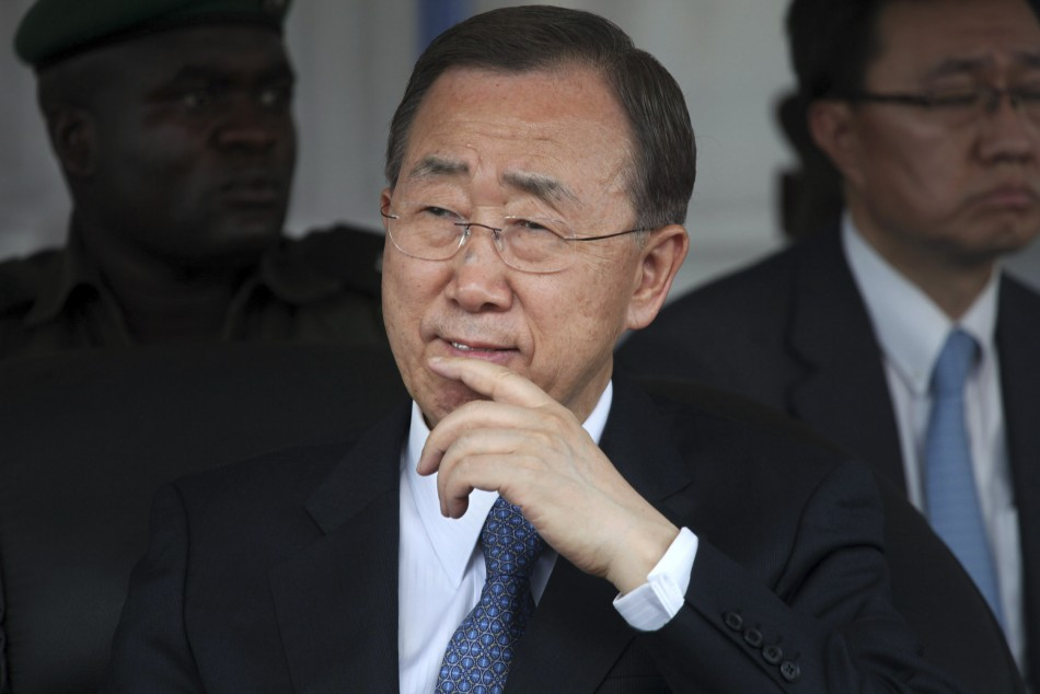 U.N. Secretary-General Ban Ki-moon gestures during a visit to the Maitama district hospital in Nigeria's capital Abuja