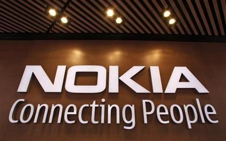 A corporate logo is displayed at the Nokia flagship store in Helsinki September 29, 2010.