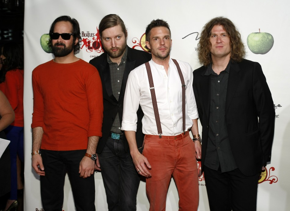 """Members of the band """"The Killers"""" arrive for the fifth anniversary celebration of """"The Beatles LOVE by Cirque du Soleil"""" show at the Mirage Hotel and Casino in Las Vegas, Nevada June 8, 2011."""