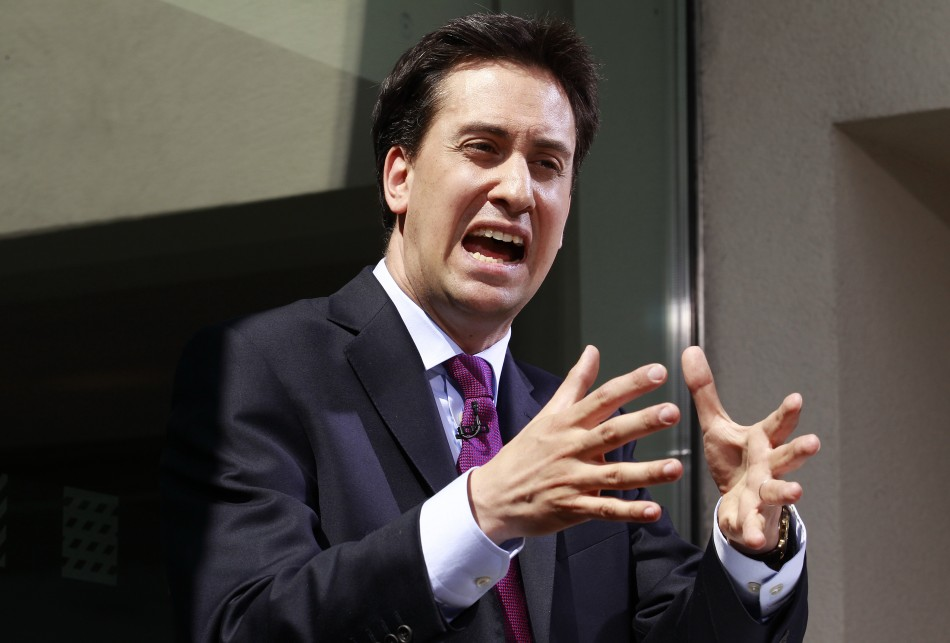 Britain's opposition leader Miliband speaks during a news conference in London