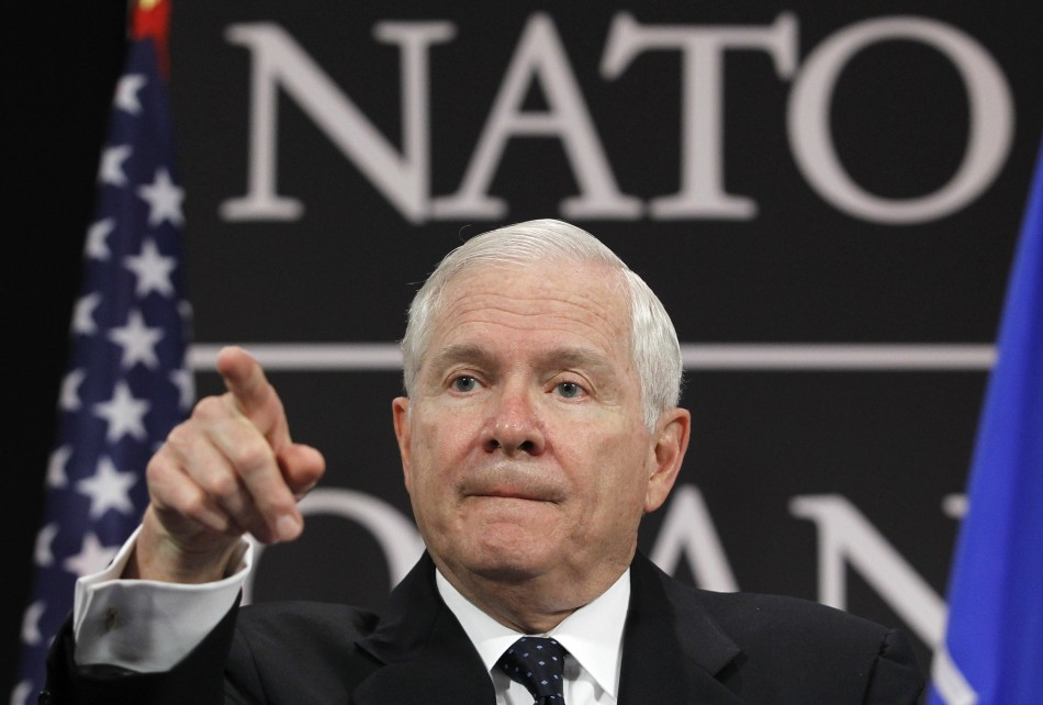 U.S. Secretary of Defense Robert Gates addresses a news conference at the end of a NATO defence ministers meeting at the Alliance headquarters in Brussels