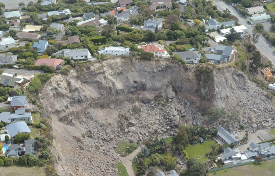 An aerial view shows damage from a landslide caused by the Christchurch earthquake on 22 February 2011.