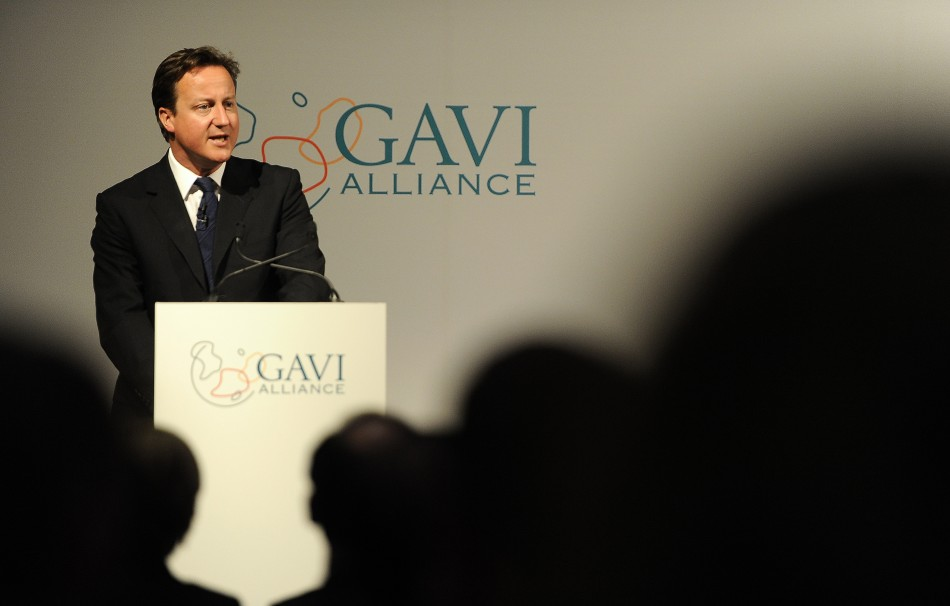 Britain's Prime Minister David Cameron speaks at the Global Alliance for Vaccines and Immunisation conference in London