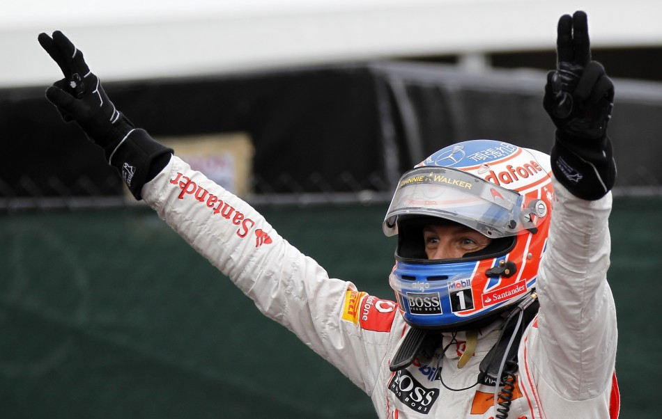 McLaren Formula One driver Jenson Button of Britain celebrates after winning the Canadian F1 Grand Prix at the Circuit Gilles Villeneuve in Montreal.