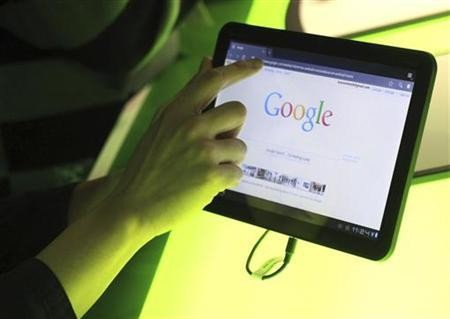 The Google home page is shown on Google's latest version of the Android operating system, Honeycomb, on a Motorola Xoom tablet device following a news conference at Google Headquarters in Mountain View, California February 2, 2011.
