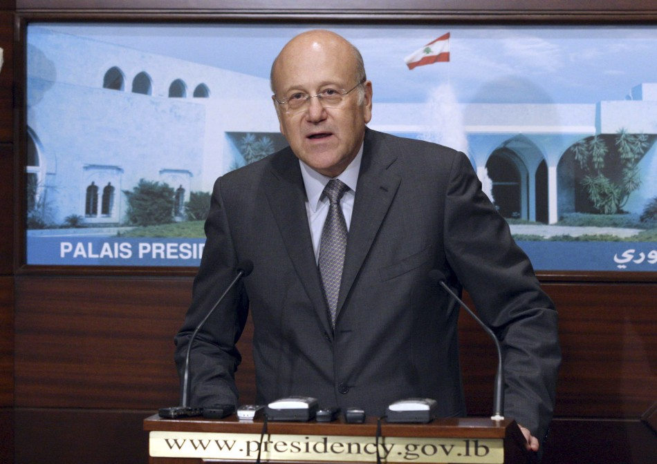 Lebanon's PM Mikati speaks after announcement of new government at presidential palace in Baabda, near Beirut