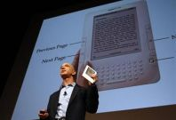 Amazon.com founder and CEO Jeff Bezos at news conference in New York to announce Kindle 2 electronic reader