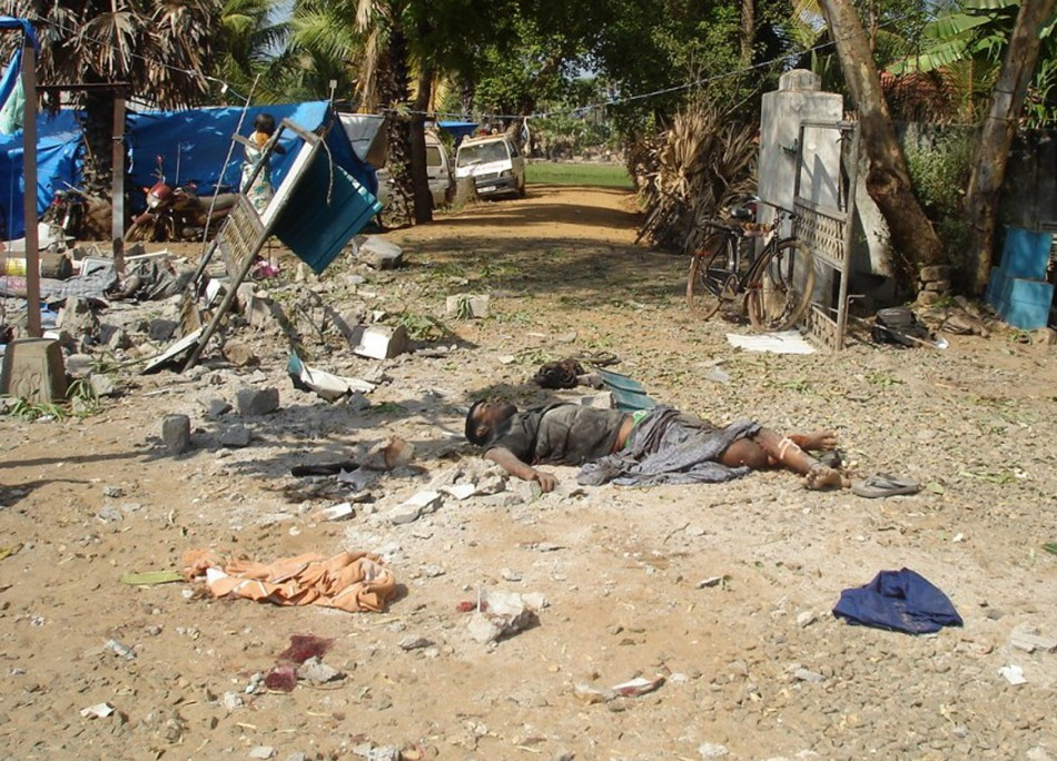 In this photograph released by the pro-Liberation LTTE website TamilNet.com on May 2 are what they say show some of the 64 people killed and 87 wounded by shelling at a makeshift field hospital in Mullivaikal