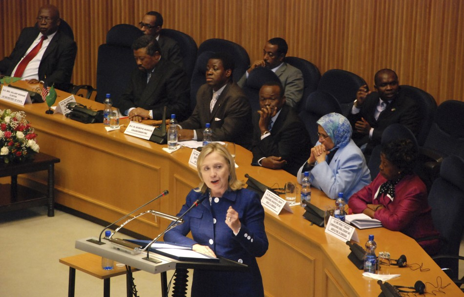 U.S. Secretary of State Clinton addresses the 53-member African Union at the AU's headquarters in Ethiopia's capital Addis Ababa