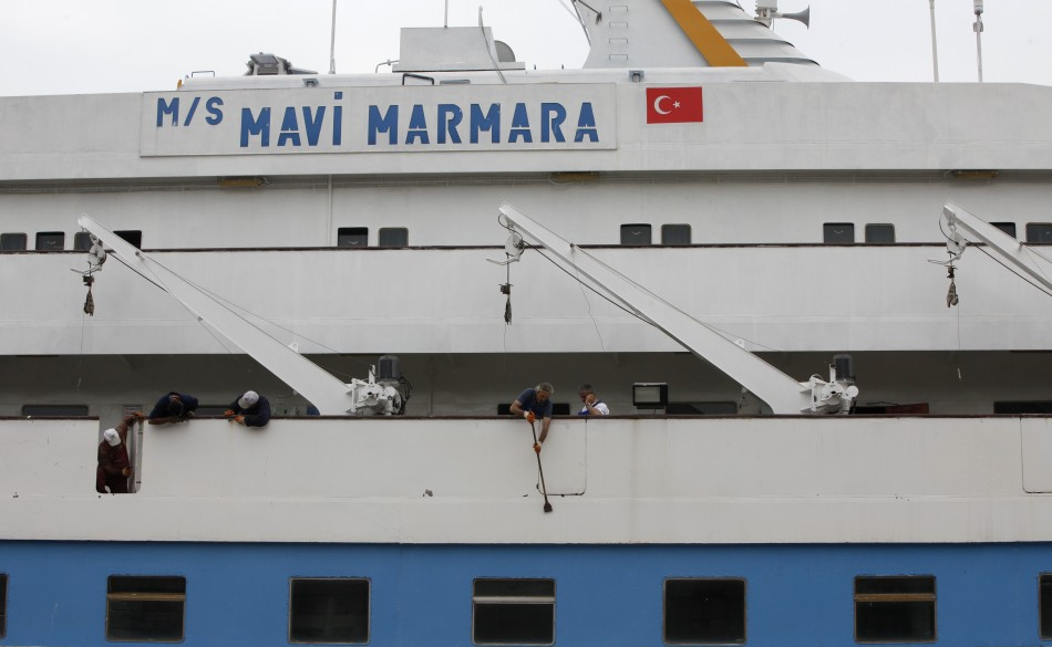 The cruise liner Mavi Marmara is under maintenance in a shipyard in Istanbul