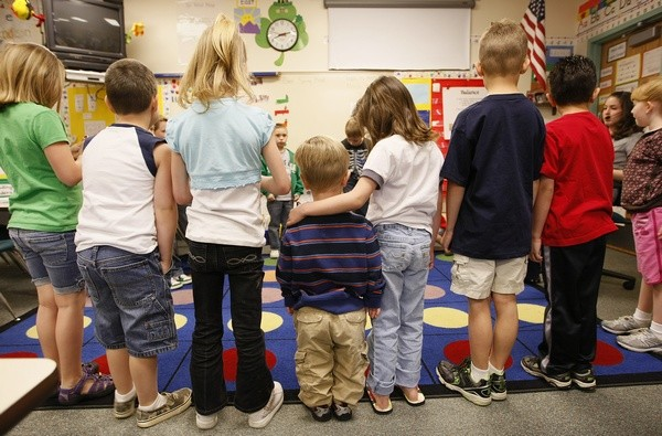 Children participate in a spelling drill at Eagleview Elementary school in Thornton, Colorado, March 31, 2010.