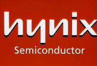 The logo of Hynix Semiconductor is seen at the company's headquarters in Icheon