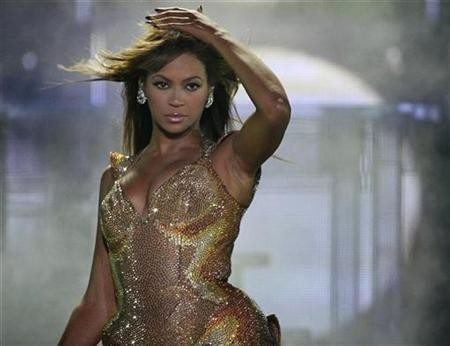 Beyonce performs during a concert at Olympic stadium in Athens, November 8, 2009.