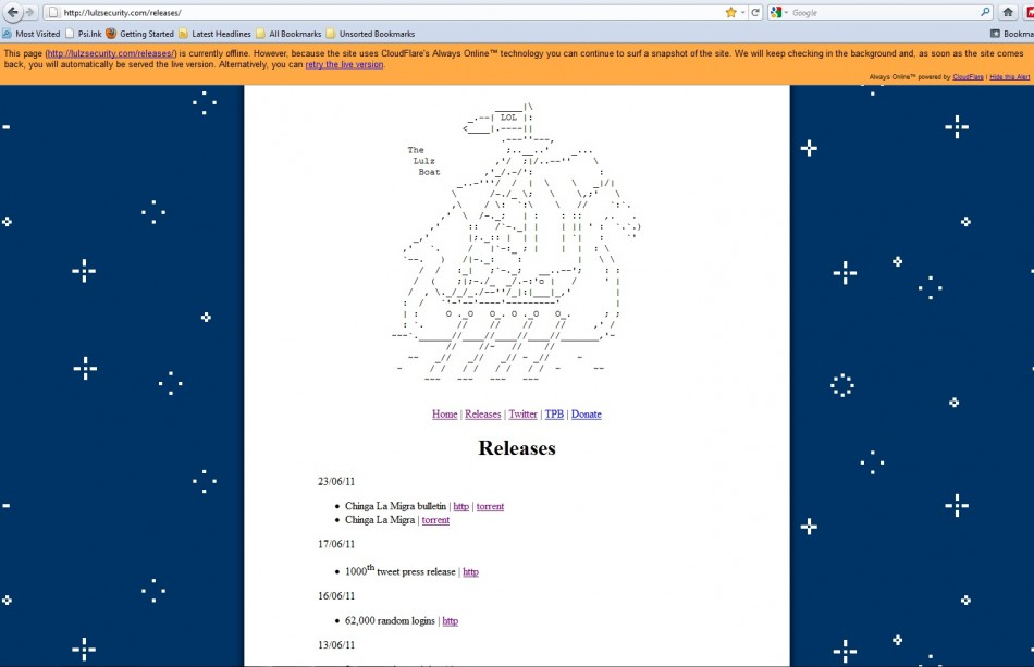 LulzSec website goes down