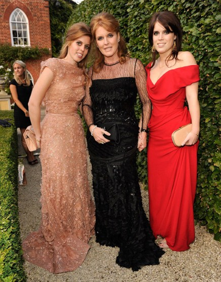 From left to right: Princess Beatrice, Sarah Ferguson, and Princess Eugenie