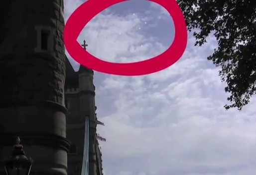 An image of UFO's taken over London's Tower Bridge on 6/24/2011