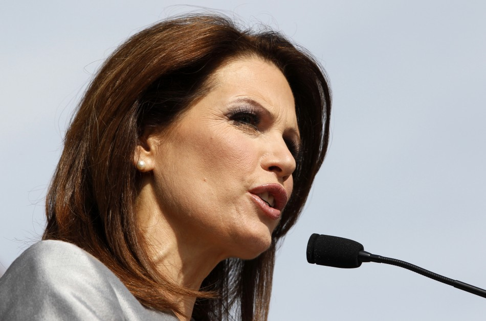 Rep. Bachmann adresses a gathering of supportersin Waterloo