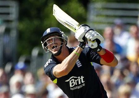 England's Pietersen watches his shot during their one day international cricket match in Edinburgh, Scotland