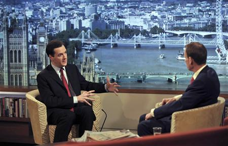 Britain's Finance Minister, George Osborne, speaks during a televised interview in London