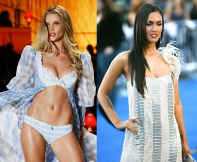 Model Rosie Huntingdon-Whitley L and Actress Megan Fox